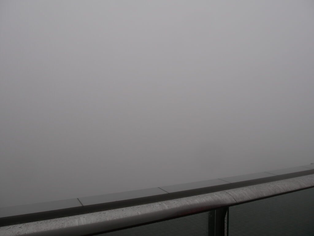 Thick fog. Nothing can be seen.