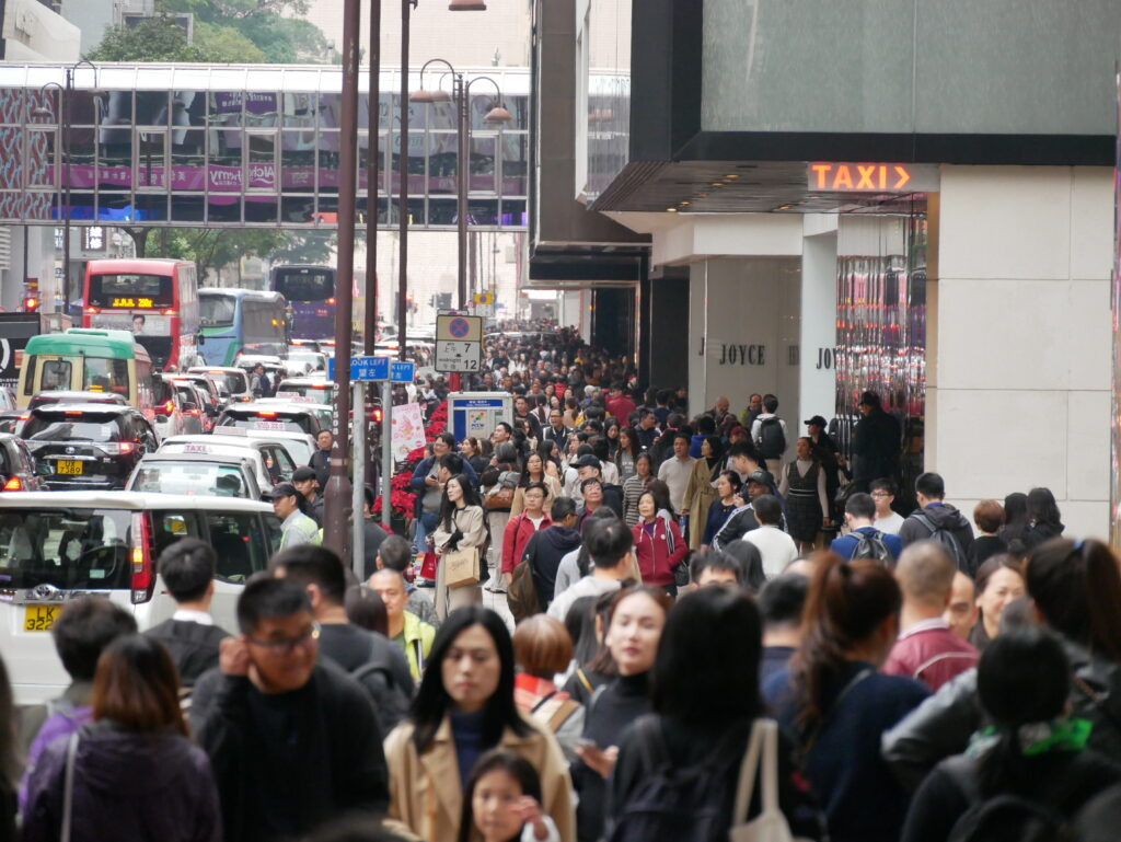 Street crowded with people.
